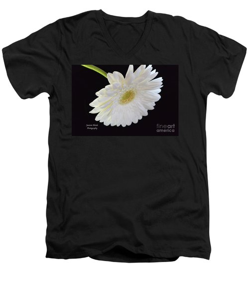 Men's V-Neck T-Shirt featuring the photograph Bright White Gerber Daisy # 2 by Jeannie Rhode