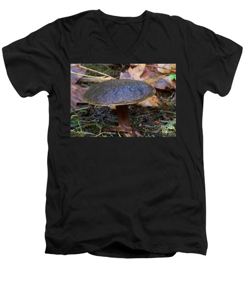 Men's V-Neck T-Shirt featuring the photograph Brown Toadstool by Chalet Roome-Rigdon