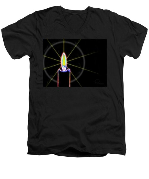 Candle Men's V-Neck T-Shirt by Ludwig Keck