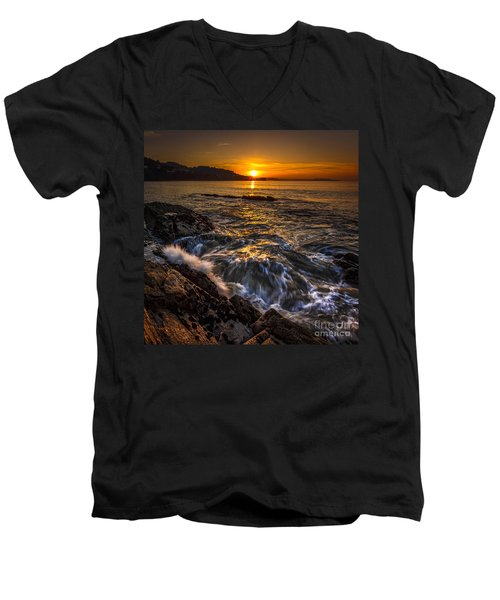 Chamoso Point In Ares Estuary Galicia Spain Men's V-Neck T-Shirt