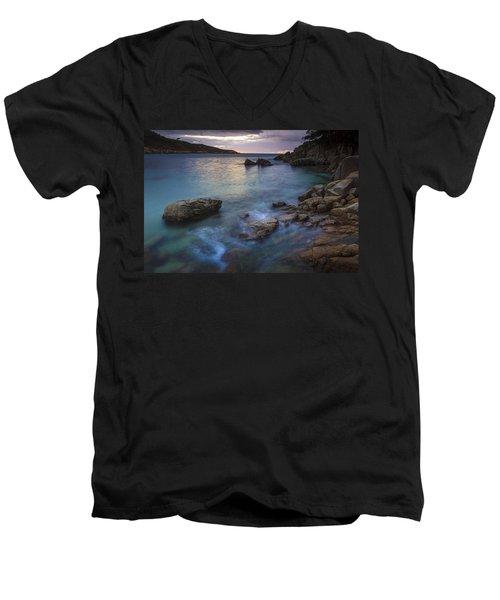 Men's V-Neck T-Shirt featuring the photograph Chanteiro Beach Galicia Spain by Pablo Avanzini