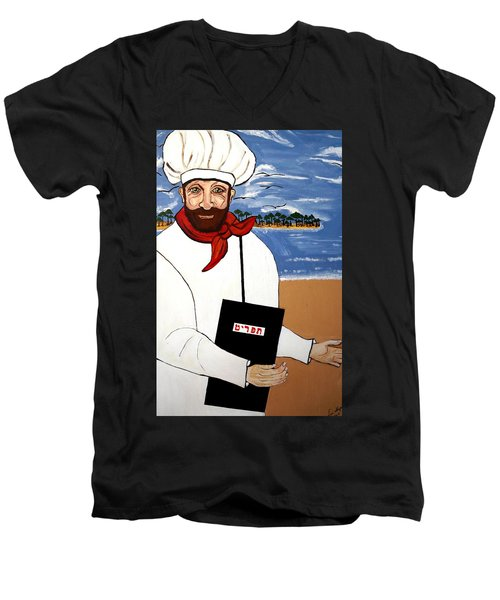 Men's V-Neck T-Shirt featuring the painting Chef From Israel by Nora Shepley