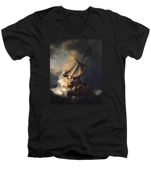 Christ In The Storm On The Sea Of Galilee Men's V-Neck T-Shirt by Rembrandt Van Rijn