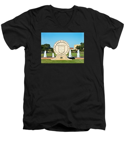 Men's V-Neck T-Shirt featuring the photograph Classical Image Of The Texas Tech University Seal  by Mae Wertz