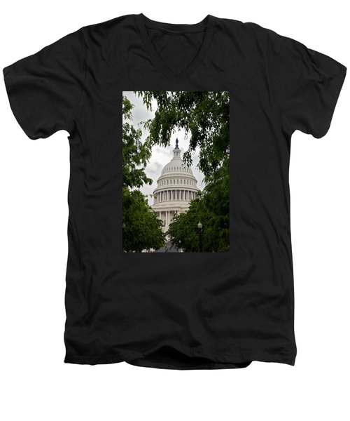 Clouds Over The Capitol Men's V-Neck T-Shirt by Lawrence Boothby