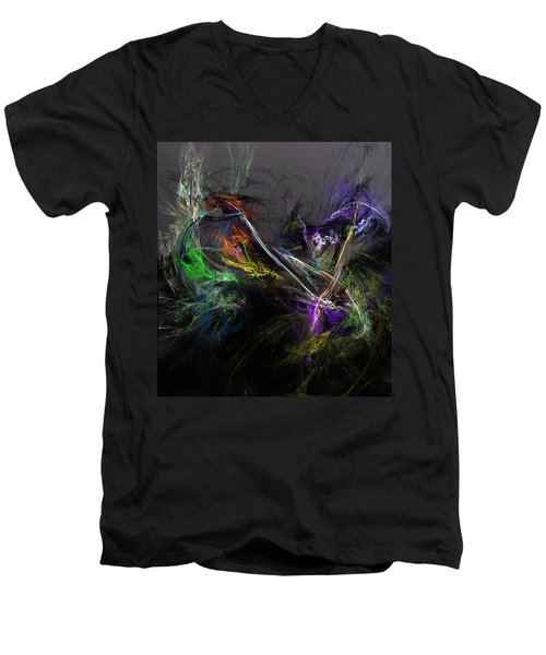 Men's V-Neck T-Shirt featuring the digital art Conflict by David Lane