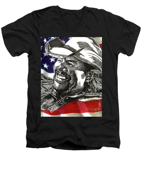 Courtesy Of The Red White And Blue Men's V-Neck T-Shirt