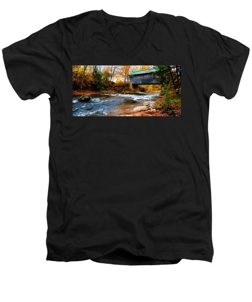 Men's V-Neck T-Shirt featuring the photograph Covered Bridge by Bill Howard