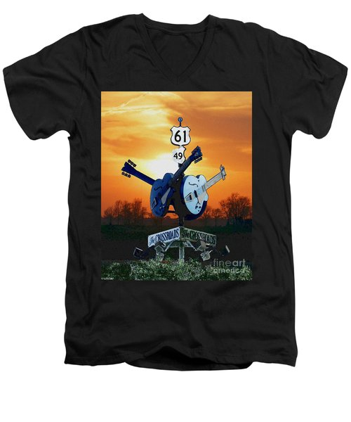Crossroads Sunset  Blues Highway 61 Men's V-Neck T-Shirt