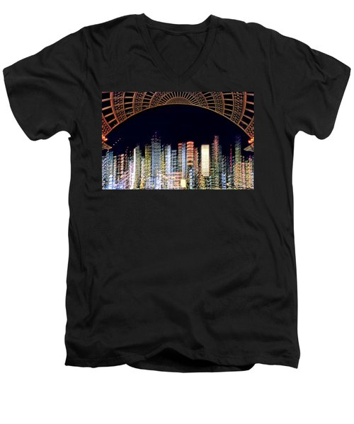 Men's V-Neck T-Shirt featuring the photograph Dallas At Night by David Perry Lawrence