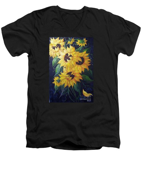 Men's V-Neck T-Shirt featuring the painting Dancing Sunflowers  by Eloise Schneider