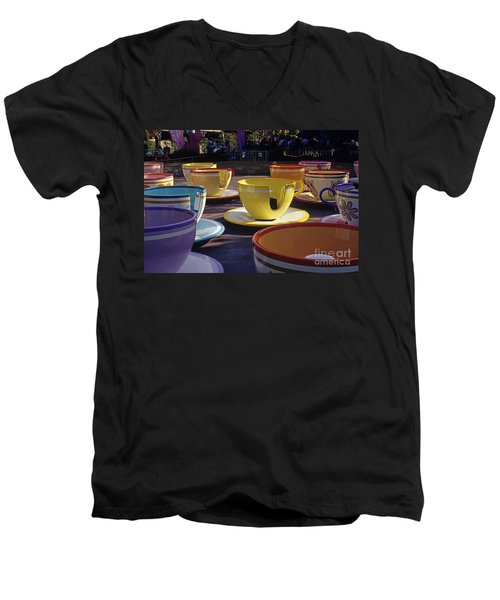 Disneyland Rides Mad Tea Party Ride Anaheim California Usa Men's V-Neck T-Shirt