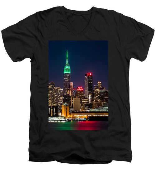 Empire State Building On Saint Patrick's Day Men's V-Neck T-Shirt