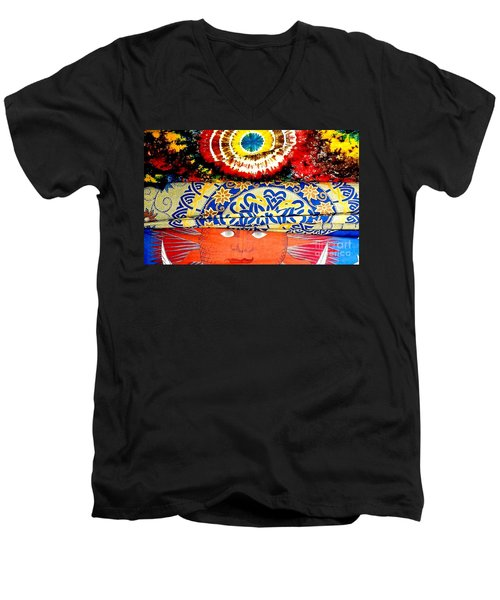 Men's V-Neck T-Shirt featuring the photograph Eye On Fabrics by Michael Hoard