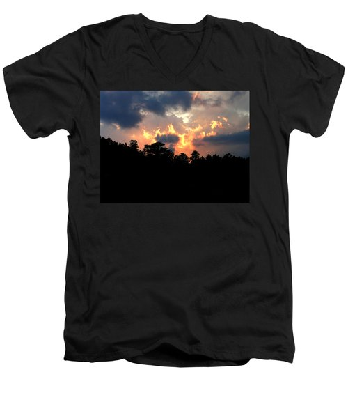 Fire In The Sky Men's V-Neck T-Shirt by Craig T Burgwardt