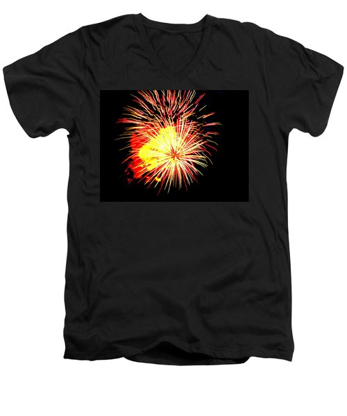 Fireworks Over Chesterbrook Men's V-Neck T-Shirt by Michael Porchik