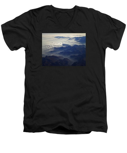 Flying Over The Alps In Europe Men's V-Neck T-Shirt