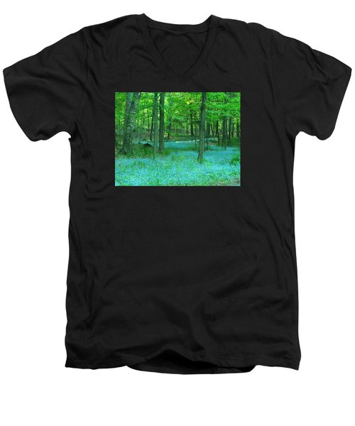 Forget-me-nots In Peninsula State Park Men's V-Neck T-Shirt by David T Wilkinson