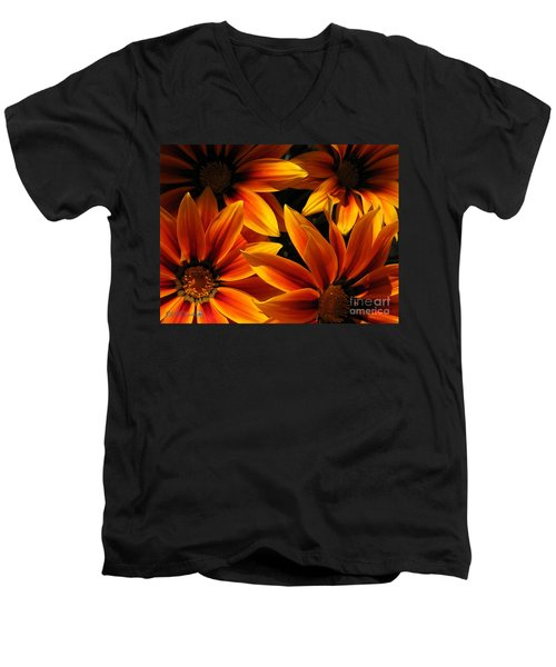 Men's V-Neck T-Shirt featuring the photograph Gazania Named Kiss Orange Flame by J McCombie