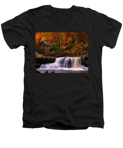 Glade Creek Grist Mill Men's V-Neck T-Shirt by Chris Flees