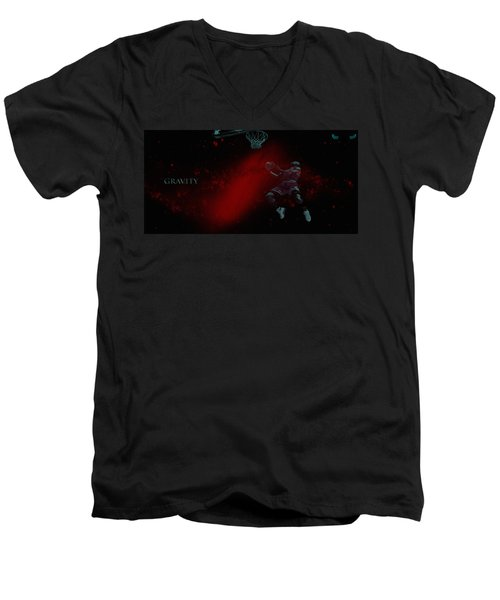 Men's V-Neck T-Shirt featuring the mixed media Gravity by Brian Reaves