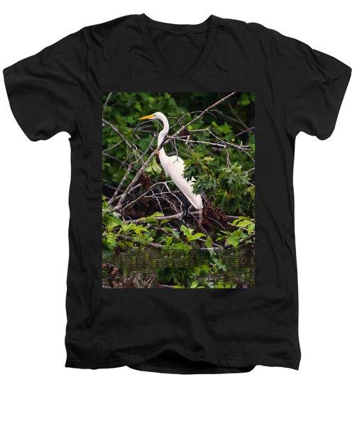 Great White Egret Men's V-Neck T-Shirt by Chris Flees