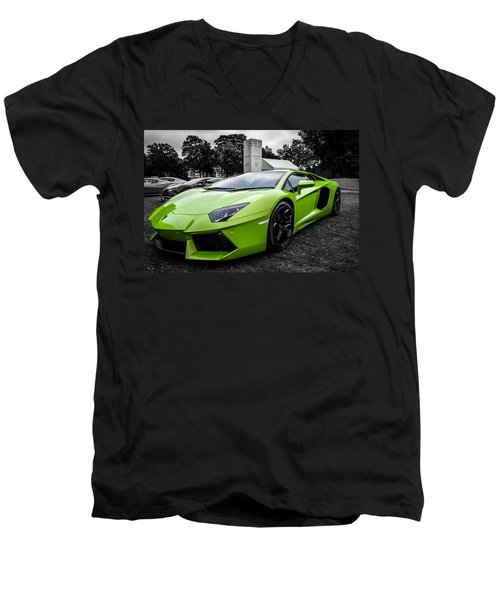 Green Aventador Men's V-Neck T-Shirt