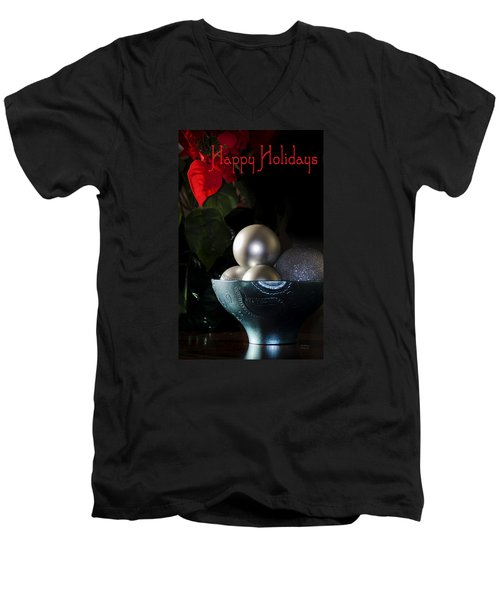Happy Holidays Greeting Card Men's V-Neck T-Shirt by Julie Palencia