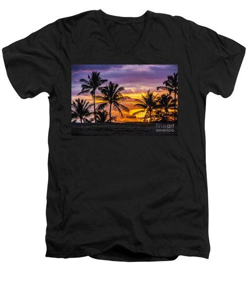 Hawaiian Sunset Men's V-Neck T-Shirt by Juli Scalzi