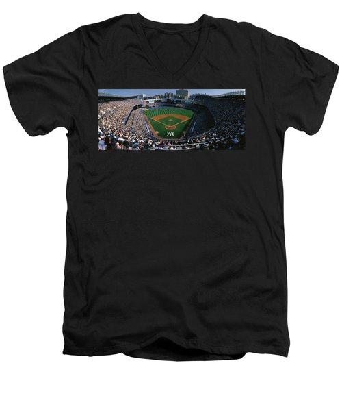 High Angle View Of A Baseball Stadium Men's V-Neck T-Shirt