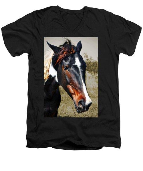 Men's V-Neck T-Shirt featuring the photograph Horse by Savannah Gibbs