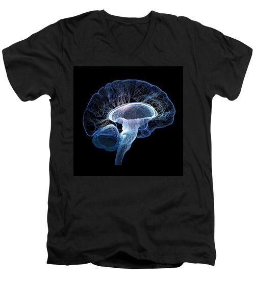 Human Brain Complexity Men's V-Neck T-Shirt by Johan Swanepoel