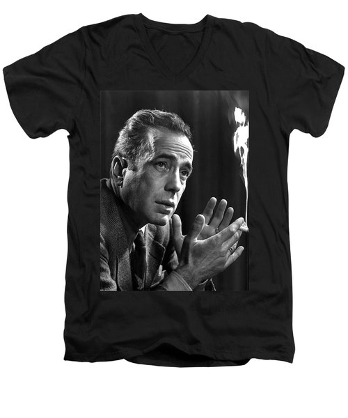 Humphrey Bogart Portrait 2 Karsh Photo Circa 1954-2014 Men's V-Neck T-Shirt by David Lee Guss