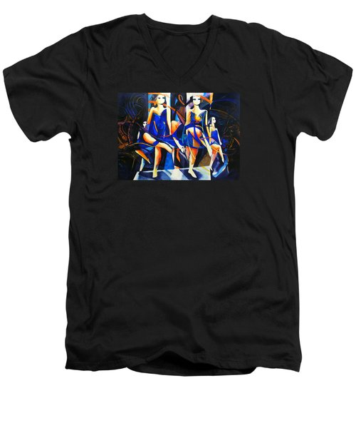 Men's V-Neck T-Shirt featuring the painting In Time by Georg Douglas