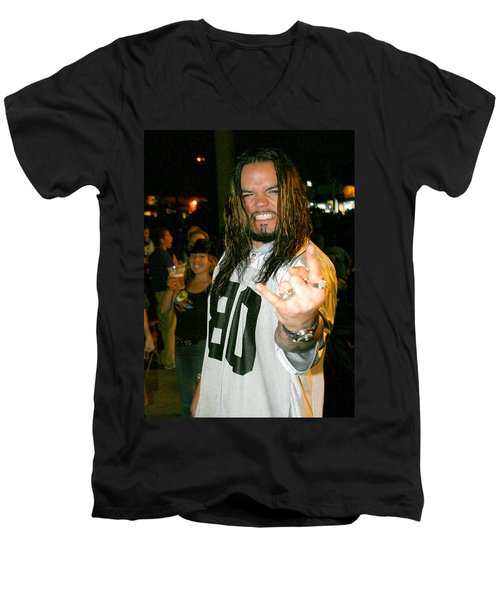 Men's V-Neck T-Shirt featuring the photograph Josey Scott  Saliva by Don Olea