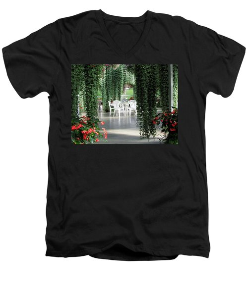Men's V-Neck T-Shirt featuring the photograph Juneau Glacier Gardens by Jennifer Wheatley Wolf