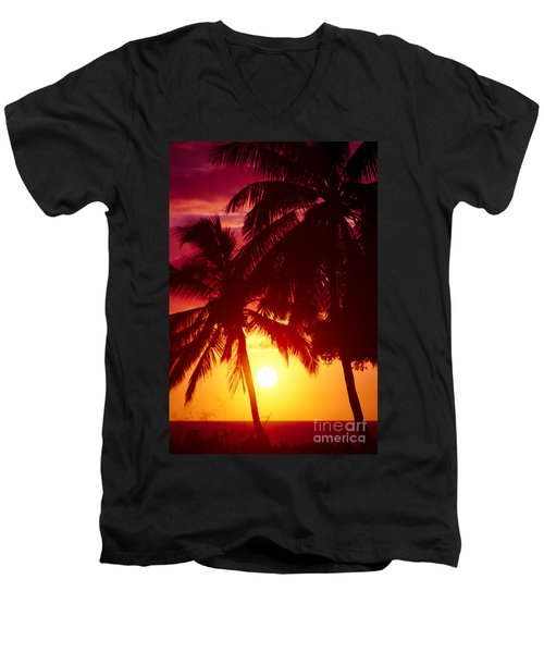 Men's V-Neck T-Shirt featuring the photograph Kamaole Nights by Sharon Mau