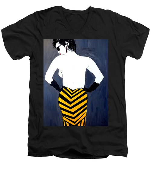 Men's V-Neck T-Shirt featuring the painting Lady In Stripes by Nora Shepley