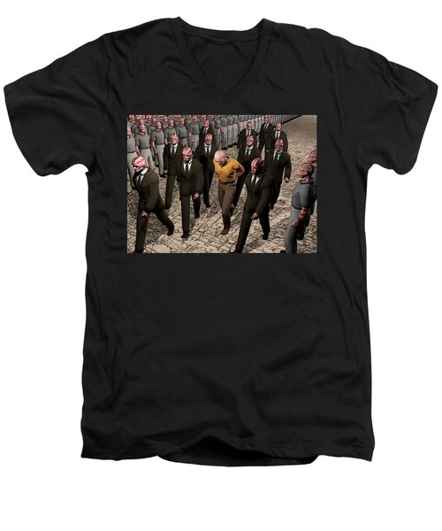 Men's V-Neck T-Shirt featuring the digital art Last March Of The Non Conformist by John Alexander