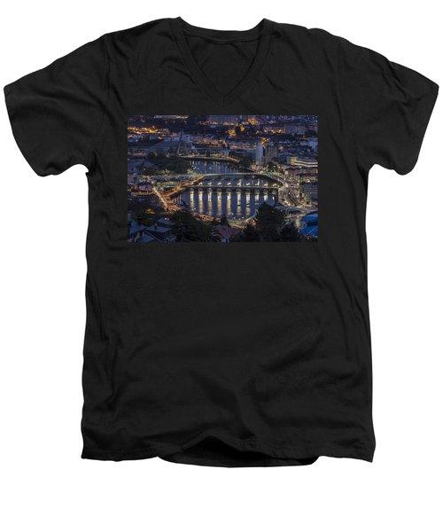 Men's V-Neck T-Shirt featuring the photograph Lerez River Pontevedra Galicia Spain by Pablo Avanzini