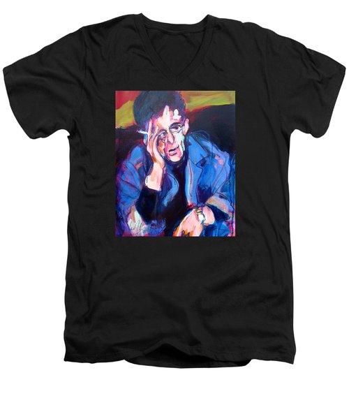 Lou Reed Men's V-Neck T-Shirt by Les Leffingwell