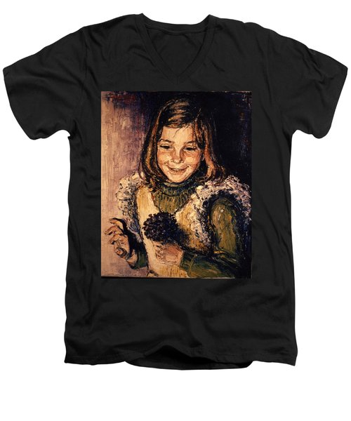 Men's V-Neck T-Shirt featuring the painting Luisa Fernanda by Walter Casaravilla