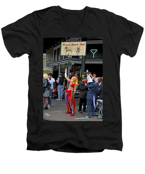 Men's V-Neck T-Shirt featuring the photograph French Quarter Mardi Gras by Luana K Perez