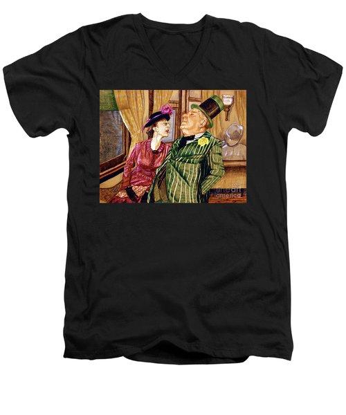 Margaret And W.c. Fields Men's V-Neck T-Shirt