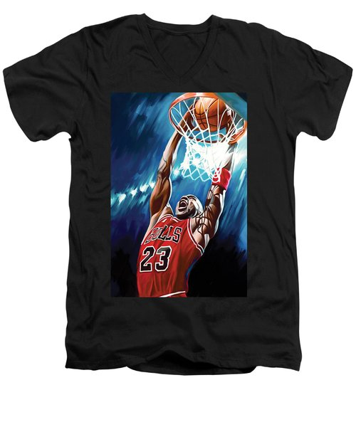 Michael Jordan Artwork Men's V-Neck T-Shirt by Sheraz A