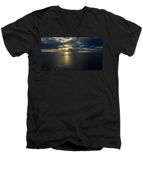 Midnight Sun Over Mount Susitna Men's V-Neck T-Shirt by Andrew Matwijec
