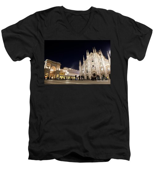 Milan Cathedral Vittorio Emanuele II Gallery Italy Men's V-Neck T-Shirt by Michal Bednarek