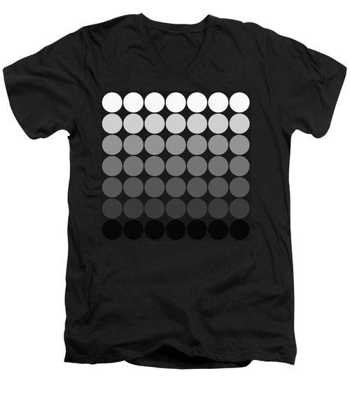 Mod Pop Gradient Circles Black And White Men's V-Neck T-Shirt