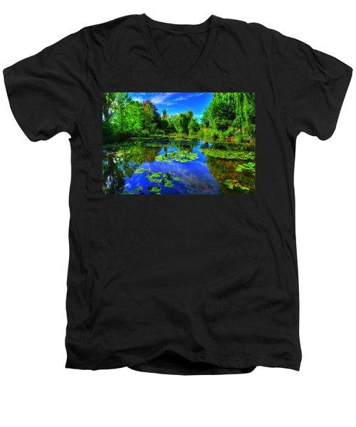 Monet's Lily Pond Men's V-Neck T-Shirt by Midori Chan