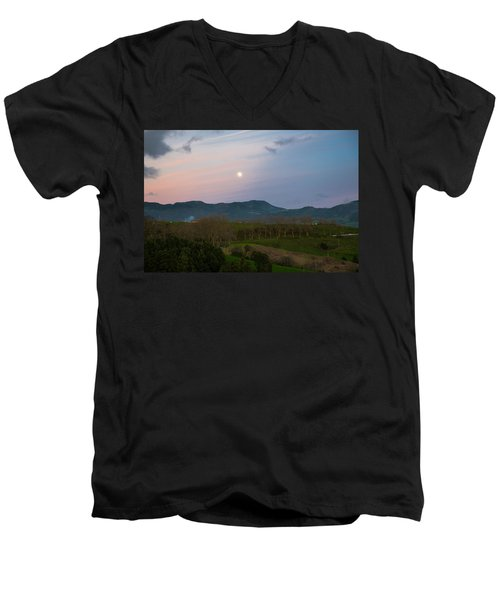 Moon Over The Hills Of Povoacao Men's V-Neck T-Shirt